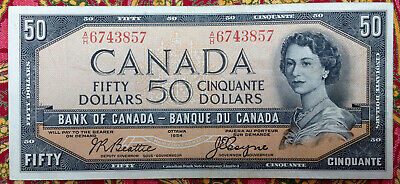 Bank of Canada 1954 50 Dollar Banknote Beattie Coyne A/H 6743857