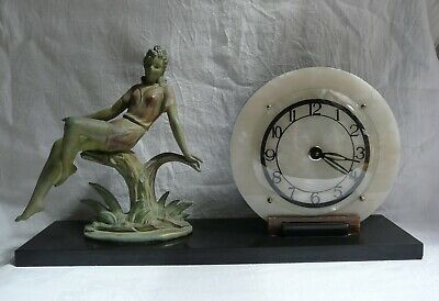 Large Vintage Art Deco Marble Stone Clock with Lady Figure & MARTI Movement