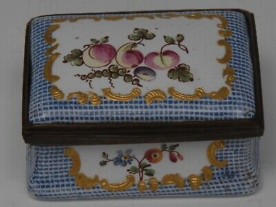 An early George III South Staffordshire enamel bowed rectangular snuff box.