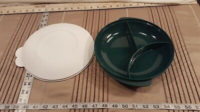 Vintage Tupperware Microwaveable Green Divided Plate Container W/ Lid 2604B-2