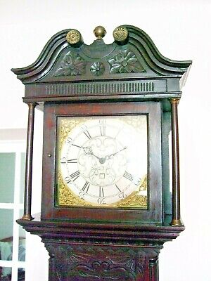 Super carved oak brass dial longcase clock by Simpson of Wigton c1780 working