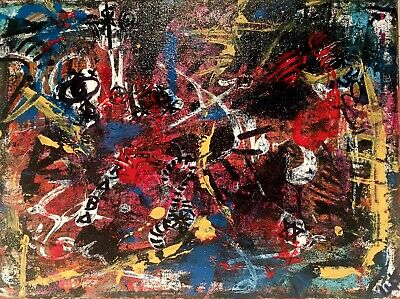 Expressionist Contemporary Abstract Painting LW Jeffrey Background Derrida Radia