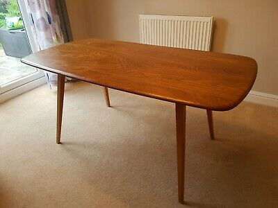 Vintage Ercol Plank Dining Table - Windsor 382 - Elm