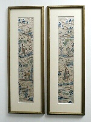 Pair Stunning Antique Chinese Hand Embroidered Silk Panels Circa 19c - Framed