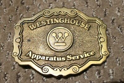 "VINTAGE 1970s Belt Buckle ""Westinghouse Apparatus Service""~Solid Brass"