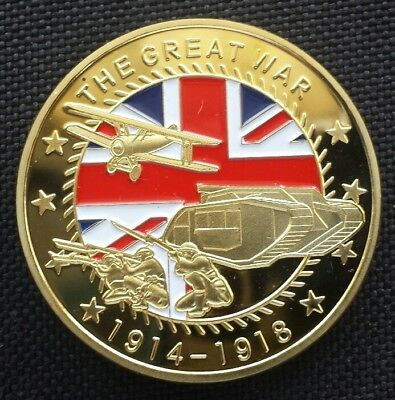THE GREAT WAR 1914-1918 Challenge Coin FREE COIN STAND AND BRAND NEW FITTED COIN