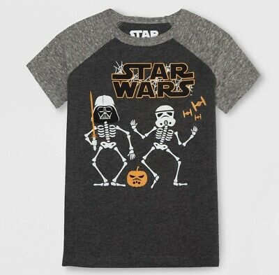 NEW Star Wars Halloween Darth Vader Storm Skeleton Pumpkin Toddler Boys T-Shirt