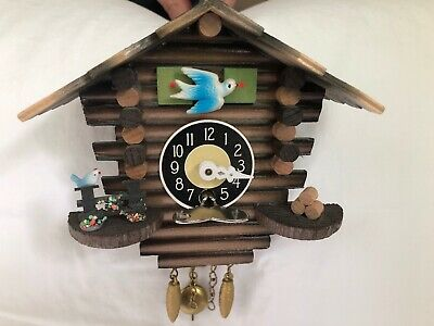 "Vintage Handmade J Engstler Small Cuckoo Clock W. Germany With Key 5 1/2"" Works"
