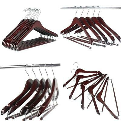 Walnut Finish LOHAS Home 12-Pack Curved Wooden Suit Hangers Beautiful Sturdy Coat Hangers with Locking Bar