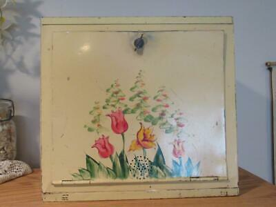 Vintage Tin Pie Safe Bread Box Yellow Colorful Tulips Free Shipping USA