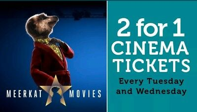2 For 1 MEERKAT MOVIES CINEMA CODE VALID FOR Tue 16th Or Wed 17th July