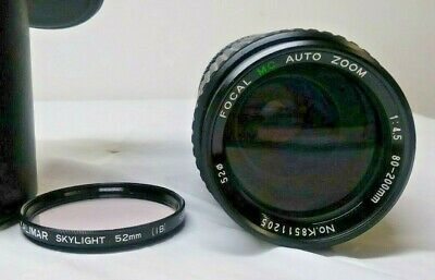 Focal MC Auto Zoom 1:4.5 80-200 mm Camera Lens With Case