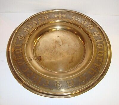 Antique Victorian Edwardian Gothic Script Brass Church Alms Collection Plate Tra