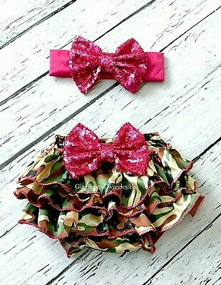 Camo baby diaper cover ruffle bloomers SET baby girl headband 3-9 months