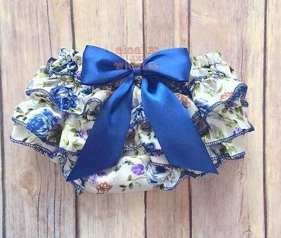 Baby girl diaper cover ruffle bloomers navy blue floral newborn 0-18 mo birthday