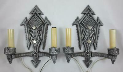 Vintage Pair GERINGER ART DECO GOTHIC ELECTRIC WALL SCONCES Refinished, Rewired