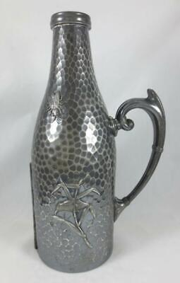 1880's MERIDEN Hammered Silverplate WINE BOTTLE HOLDER Bird, Insects, Flowers