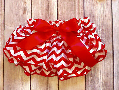 Red chevron diaper cover satin baby girl ruffle bloomers 0-18 mo. RTS