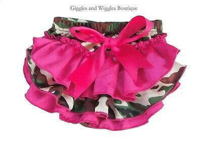 Hot pink camo diaper cover satin baby girl ruffle bloomers 0-18 mo. RTS