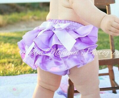 Lavender diaper cover satin baby girl ruffle bloomers 0-18 mo. RTS
