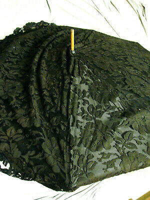 "VTG 1800s Victorian Umbrella Parasol Black LACE DRAPE GC 33""w Antique Rosewood"