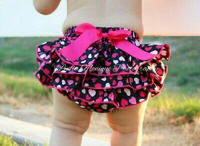 Black and pink hearts diaper cover satin baby girl ladybug bloomers 0-12 mo.