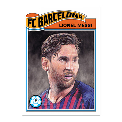 2019 Topps UCL Living #1 Lionel Messi Soccer FC Barcelona Argentina 1977-78 PS