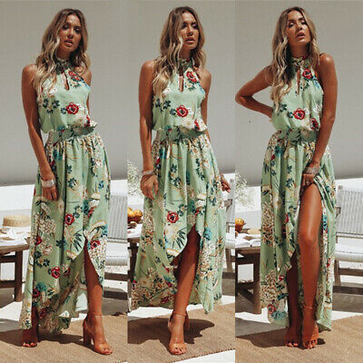 UK Women Sleeveless Wrap Boho Floral Maxi Dress Ladies Summer Sundress Holiday