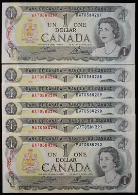 Canada 1973 $1 Dollar Bank Notes, 6 In Sequence, Crisp Gem Uncirculated, BAT