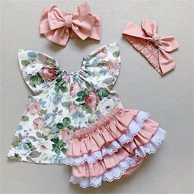 AU 3pcs Kids Toddler Baby Girl Floral Tops PP Shorts Headband Clothes Outfit Set