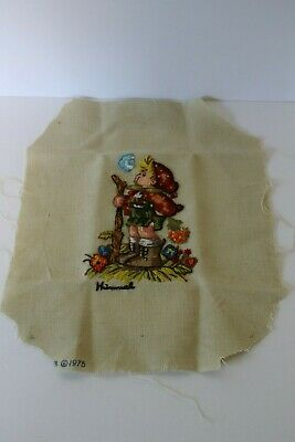 Vintage 1975 Needlepoint Hummel Girl Picture No Frame