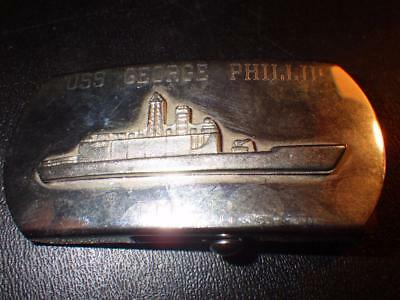 Uss George Phillip Ffg-12 Us Navy Silver Color Solid Brass Belt Buckle  U.s.a.