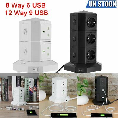 USB Port Tower Electric Mains Power Strip Surge Protector Socket Extension Lead