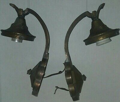 Set of Antique Brass Spanish Tudor Revival Wall Sconce Hammered  Patina Finish