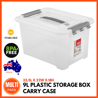 PLASTIC STORAGE BOX CARRY BASE 9 Litre Home Storage Tub Container Bin Boxes Bins