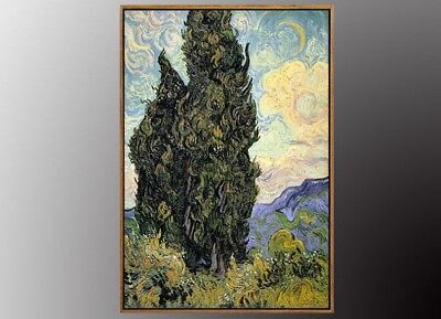 VINCENT VAN GOGH Cypresses Oil Painting Canvas Art Print with Gold FRAME 50x70cm