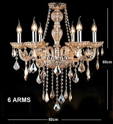Antique European Italian French CHANDELIER Crystal Silver Champagne 6 Arm Light