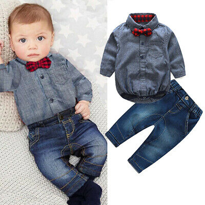 AU Baby Boy Christening Formal Wedding Suit Matching Bow Romper Pants Newborn