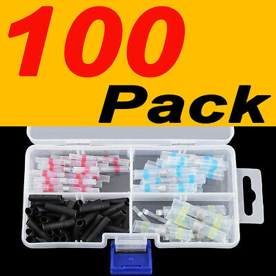 100 x 4 Size Solder Seal Heat Shrink Butt Wire Connector Terminal Waterproof Kit