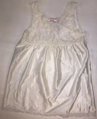 Vintage Basic Image Girl's Gown Slip Dress Size 6x White Silky Nightgown Lace