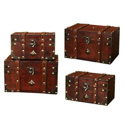 1a85fca4102bf ANTIQUE WOODEN JEWELRY Box Storage Vintage Small Treasure Chest Wood ...
