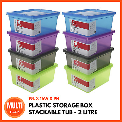 PLASTIC STORAGE BOX WITH LIDS 2L | Stackable Boxes Storage Tubs Bins Containers