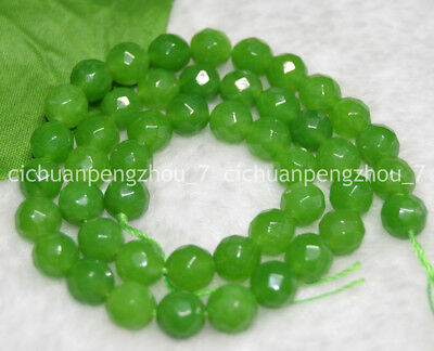 """Faceted 6mm Natural Light Green Jade Gemstone Round Loose Beads 15"""" Strand"""