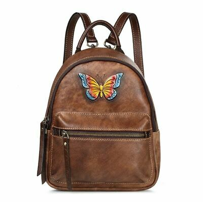 New Women Genuine Real Cow Leather Backpack Travel Bag Handbag Small Coffee