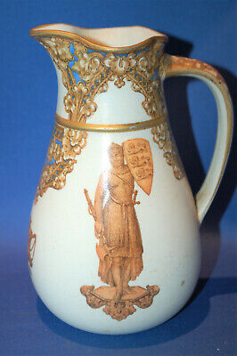 An antique medieval gothic jug, relief moulded decoration, rare colour, A/F
