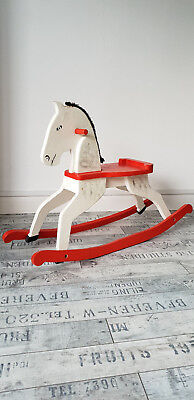 Amazing Vintage Handmade Wooden Rocking Horse painted in white, red and black