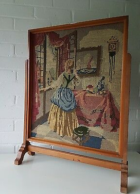 Vintage Antique Fire Screen With Skilfully Stitched Work Panel