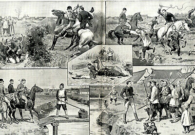 EUROPEAN RESIDENTS IN CHINA PAPER-CHASING AT SHANGHAI XXL-Print von 1894