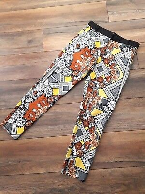 River Island Size 10 Black White Yellow Slim Pencil Capri Pants Trousers Floral