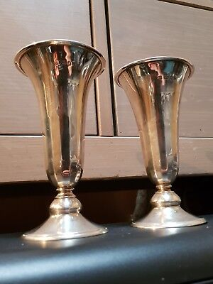 Matching Pair Of 1958 Richard Comyns Solid Silver Vases London Sterling Vase